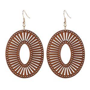 Wood Oval Geometric Boho Brown Hippie Earrings